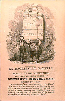 An advertising circular inserted in the third issue of Bentley's Miscellany (March 1837).